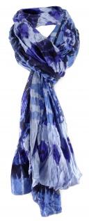 Raffschal in blau dunkelblau violett gemustert - Schal Größe 180 x 100 cm