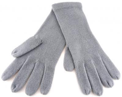 feine Strickhandschuhe in grau hellgrau Uni - Damen Handschuhe Größe M - Vorschau