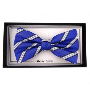 TigerTie Designer Seidenfliege blau grau silber schwarz gestreift - Fliege Seide - Vorschau 2