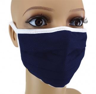 TigerTie Gesichtsmaske mit Nasenbügel Pique marine gemustert mit Schnürbändchen