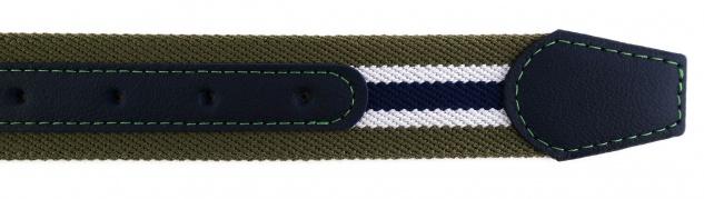 TigerTie - Stretchgürtel oliv grün dunkelblau weiß gestreift - Bundweite 120 cm - Vorschau 5