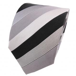 TigerTie Designer Seidenkrawatte grau silber anthrazit schwarz weiß gestreift