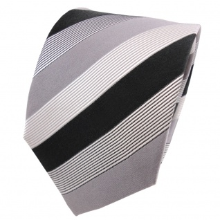 TigerTie Seidenkrawatte grau silber anthrazit schwarz weiß gestreift - Krawatte