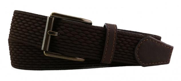 TigerTie - Stretchgürtel in braun dunkelbraun einfarbig - Bundweite 120 cm