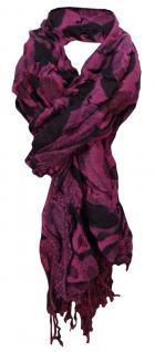 gecrashter dehnbarer Ziehharmonika TigerTie Schal in magenta schwarz gemustert