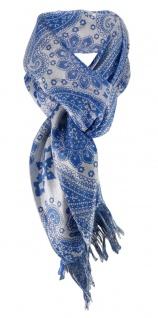 Halstuch dunkles türkis blau silber grau gemustert mit Fransen - Gr. 90 x 90 cm