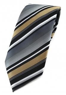 TigerTie Designer Krawatte in gold silber grau weiss schwarz gestreift