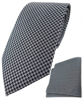 TigerTie Krawatte + Einstecktuch in silber grau schwarz Houndstooth gemustert