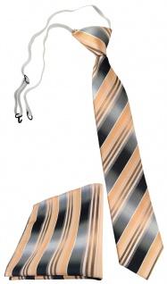 TigerTie Sicherheits Krawatte + Einstecktuch lachs orange silber grau gestreift