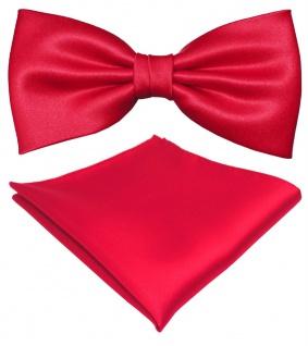 schöne TigerTie Satin Fliege + Einstecktuch in rot Uni einfarbig + Geschenkbox