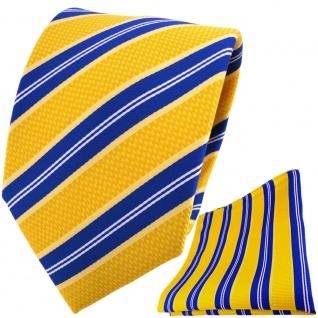 TigerTie Designer Krawatte + Einstecktuch in gelborange blau weiß gestreift