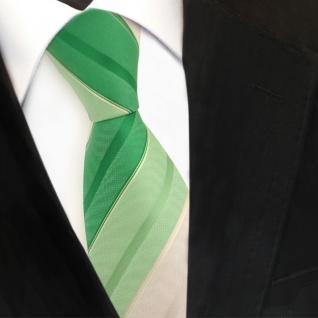 TigerTie Krawatte grün laubgrün grasgrün beige champagner gestreift - Binder Tie - Vorschau 3