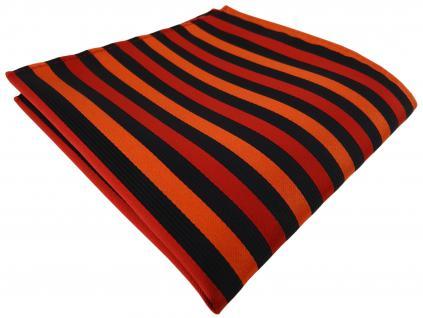 Einstecktuch in orange schwarz gestreift - Tuch Polyester - Gr. 25 x 25 cm