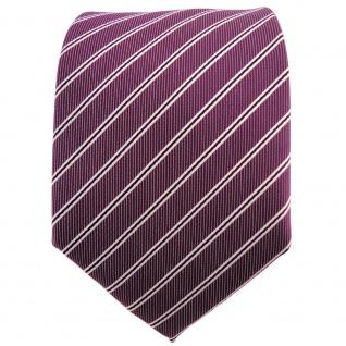 schöne TigerTie Krawatte in pflaume violett silberweiß schwarz gestreift - Vorschau 2