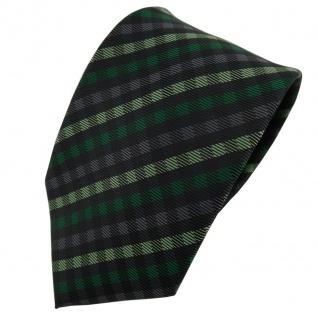 TigerTie Designer Krawatte grün anthrazit schwarz kariert - Schlips Tie