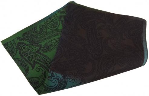 TigerTie Seideneinstecktuch in petrol grün dunkelbraun schwarz Paisley gemustert