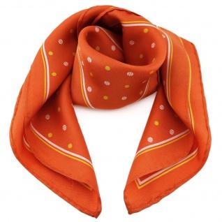 Damen Nickituch in Seide orange gelb weiß gepunktet 53 x 53- Tuch Halstuch Schal