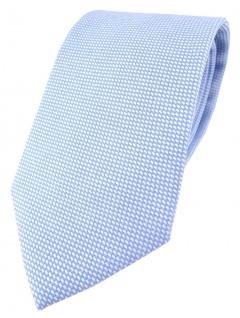 TigerTie Designer Krawatte Pique in hellblau-weiss gemustert - 100% Baumwolle
