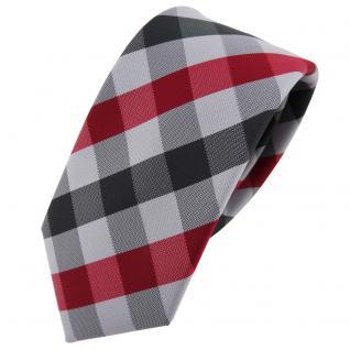 Schmale TigerTie Krawatte rot dunkelrot silber grau anthrazit kariert - Binder