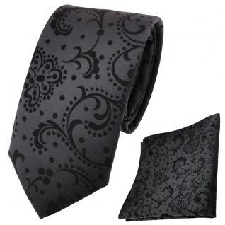 schmale TigerTie Krawatte + Einstecktuch anthrazit schwarz gemustert
