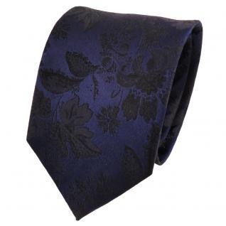 TigerTie Designer Seidenkrawatte blau royal schwarz gemustert - Krawatte Seide