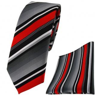 schmale TigerTie Krawatte + Einstecktuch in rot silber grau weiss gestreift