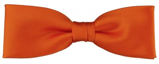 vorgebundete schmale TigerTie Fliege in orange Uni einfarbig + Box