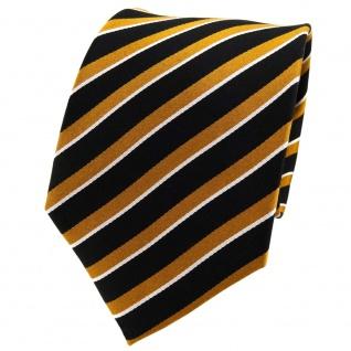 TigerTie Seidenkrawatte braun ocker schwarz silber gestreift - Krawatte Seide