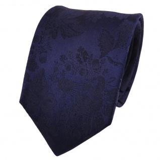 TigerTie Designer Seidenkrawatte blau dunkelblau gemustert- Krawatte Seide
