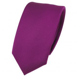 Schmale TigerTie Designer Krawatte magenta fuchsia violett Uni Rips - Binder Tie