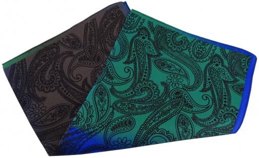 TigerTie Seideneinstecktuch in royal grün braun blau schwarz Paisley gemustert