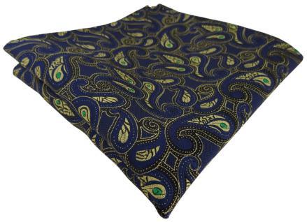 TigerTie Einstecktuch marine gold grün schwarz Paisley gemustert - Gr. 25x25 cm