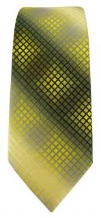 schmale TigerTie Designer Krawatte in gelb gold silber grau schwarz kariert - Vorschau 2