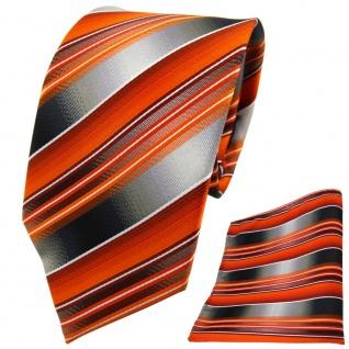 TigerTie Krawatte + Einstecktuch orange anthrazit silber grau gestreift - Tuch