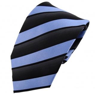 TigerTie Seidenkrawatte blau hellblau anthrazit schwarz gestreift - Krawatte Tie