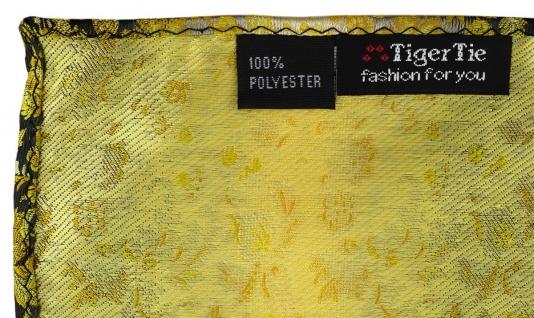 TigerTie Designer Einstecktuch in gelb grausilber geblümt gemustert - Vorschau 2