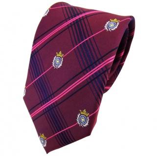 TigerTie Seidenkrawatte lila pink blau kariert Wappen in silber gold - Krawatte