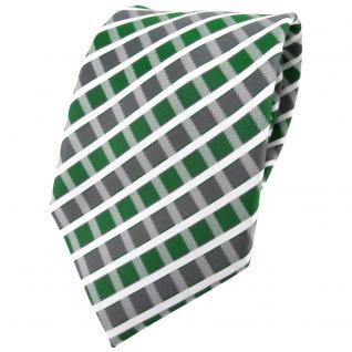TigerTie Designer Krawatte in grün grau silber weiss gestreift - Tie Binder