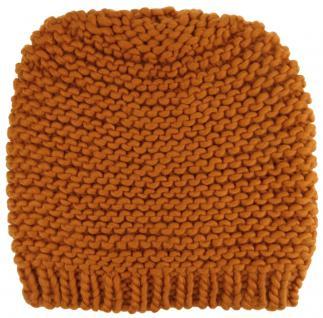 Damen Strickmütze orange Uni - Wintermütze Mütze Größe M