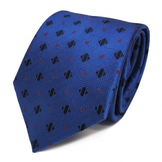 Designer Seidenkrawatte blau dunkelblau schwarz rot gemustert - Krawatte Seide