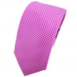 Schmale TigerTie Seidenkrawatte magenta lila silber gepunktet - Krawatte Seide