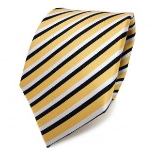 TigerTie Designer Krawatte gold weiß schwarz gestreift