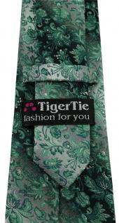 TigerTie Designer Krawatte in grün anthrazit grausilber geblümt gemustert - Vorschau 3