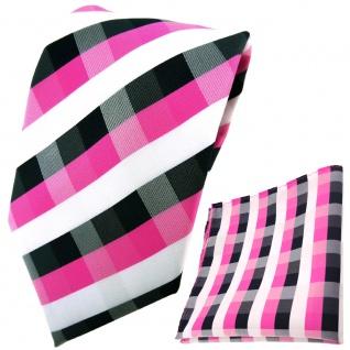 schöne TigerTie Krawatte + Einstecktuch in pink blau royal weiß kariert