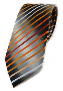 TigerTie Krawatte in orange lachs rotbraun weiss silbergrau schwarz gestreift