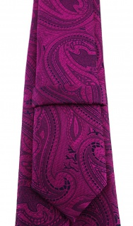 TigerTie - schmale Krawatte in magenta beere lila schwarz Paisley gemustert - Vorschau 3