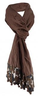 Schal in dunkelbraun schwarz grau gemustert mit Bommeln - Schalgröße 180 x 40 cm
