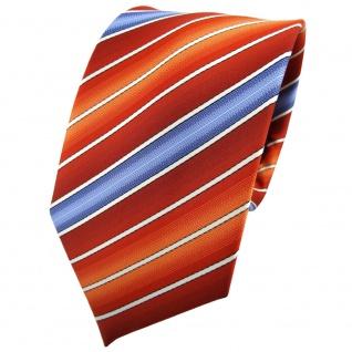 TigerTie Krawatte orange rotorange dunkelorange blau creme gestreift - Binder