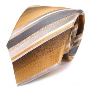 TigerTie Seidenkrawatte beige bronze weiss grau gestreift - Krawatte reine Seide
