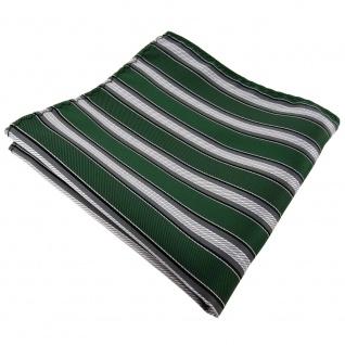 Einstecktuch in grün moosgrün grau silber schwarz gestreift - Tuch Polyester